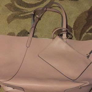 Zara pink and silver reversible tote